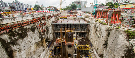 A temporary structure at the Tun Razak Exchange MRT construction site gave way and killed a Bangladeshi worker. – Filepic courtesy Gamuda.