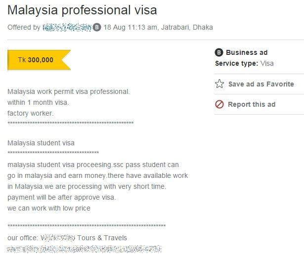 Malaysia professional visa